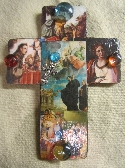 Handmade  Decorative Wall Cross Decoupaged Religious Images