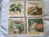 Tile Drink Coasters Decoupaged Vintage Cats Handmade