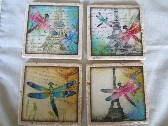 Handmade Decoupaged Drink Coasters Dragonflies Eiffell Tower