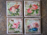 Set Tile  Drink Coasters French Floral Decoupaged