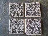 Handmade Tile Coasters Decoupaged Black White