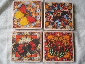 Handmade Tile Coasters Colorful Butterfly Patterns