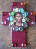 Handmade Unique Embellished Cross Jesus Burgundy