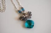 Beautiful Paraiba blue quartz brilette and flashy Labradorite necklace
