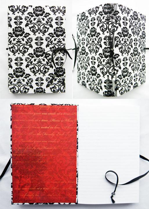 Handbound Journal Black and White Damask