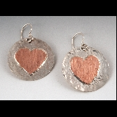 Sterling disc earrings with copper hearts