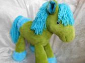 Heavenly Meadows PlushBumPony Green HORSE turquoise hooves Wild Mane Home DECOR Soft Toy Handmade OOAK tallhappycolors