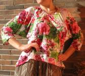 Coral Red Lime Green Roses BATWING SHIRT Viscose w Cotton xl xxl 2xl 18 20  Comfortable Leisure Casual Design Wear OOAK tallhappycolors