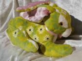 Green Springtime BUNNY Rabbit Hare stuffed plush Soft TOY Pet Animal Handmade OOAK