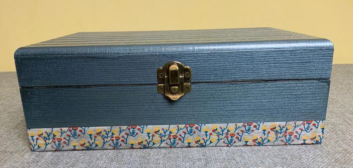 Metallic Blue Wood Box