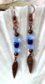 Copper Earrings with Cobalt Glass