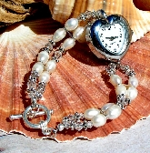 Heart Silver Watch and Pearl Crystal