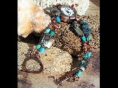 Copper Watch Turquoise and Abalone W060