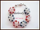 Swarovski Red Blue 3 D Flower Bracelet PDF Tutorial