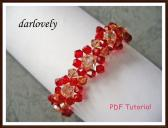 Swarovski Red Golden Flower Bracelet PDF Tutorial