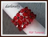 Swarovski Red Flowers Cuff Ring PDF Tutorial
