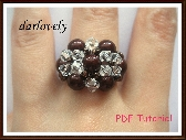 Swarovski Crystal Twin Flower Bronze Pearl Ring PDF Tutorial