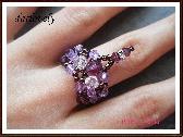 Buy tutorials & combs - Swarovski Amethyst Violet Dangling Ring PDF Tutorial