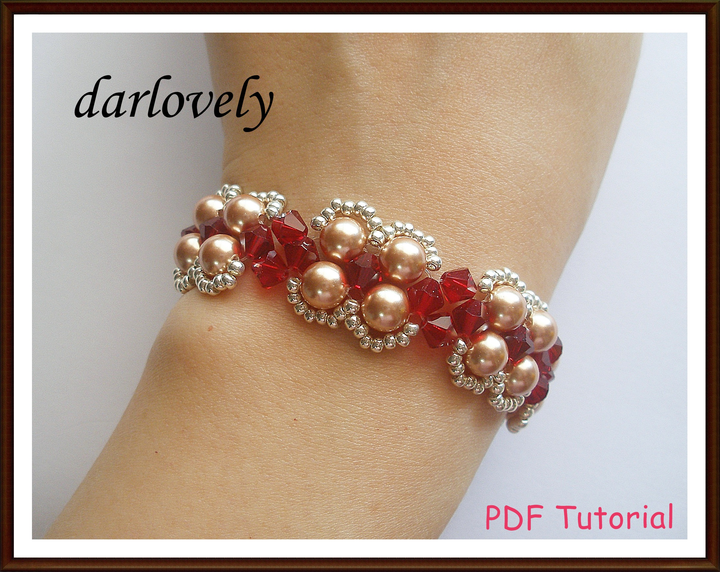 BB157 Red Rose Gold Pearl Bracelet PDF Tutorial on Handmade Artists ...