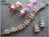 Platinum Pearl Netted Bracelet and Earrings