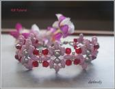 Beaded Bracelet Pattern BB176 Pink Red Silver Flower Superduo Bracelet