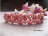 BB188 Pink Superduo Golden Criss Cross Bracelet