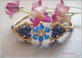 BB187 Golden Superduo Blue Flower Bracelet PDF File