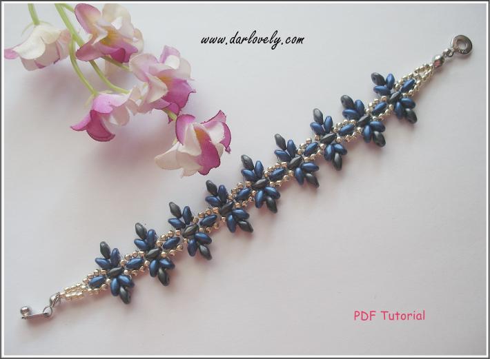 BB185 Classic Blue Grey Flower Superduo Bracelet PDF Pattern