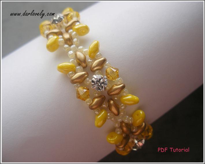 BB184 Golden Yellow Superduo Montee Bracelet PDF Pattern