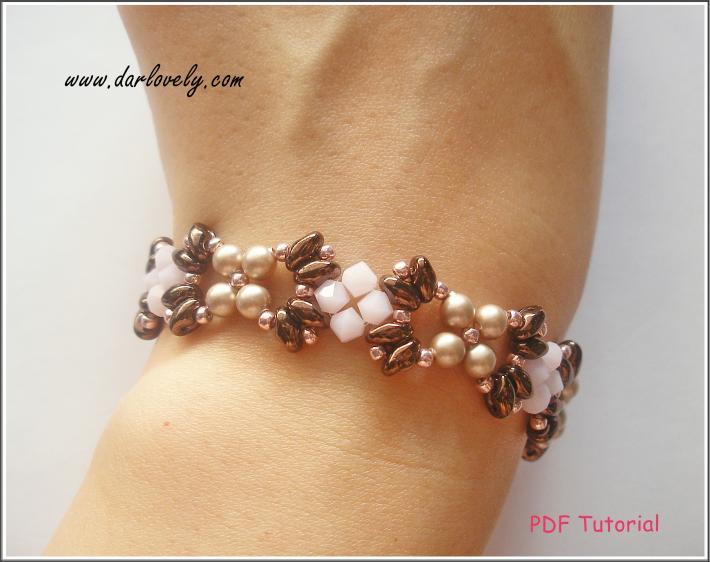 BB183 Rose Bronze Superduo Bracelet PDF Pattern