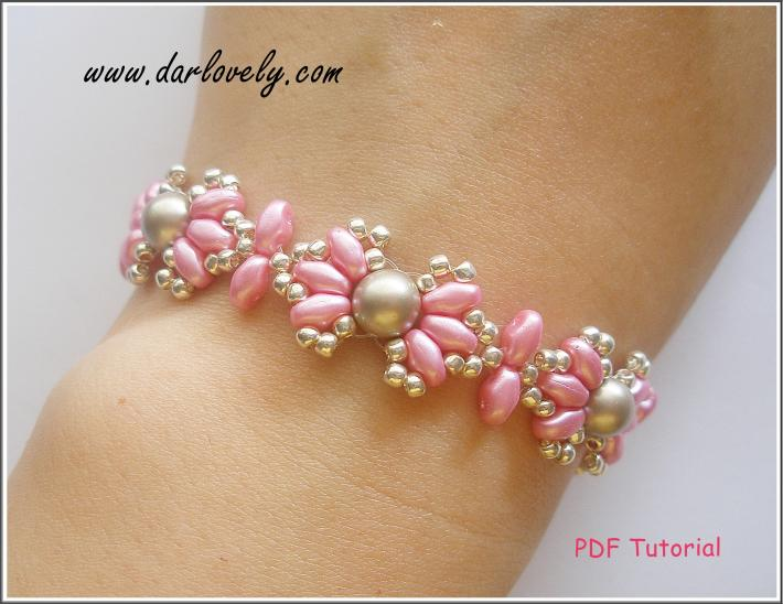 Pink Shell Pearl Superduo Bracelet