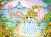 Cinderella princess painting girls room decor pumpkin carriage castle large fine art print