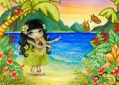 Hawaiian hula girl painting hawaii sunset art girls room decor beach decor large fine art print