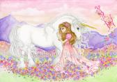 Princess and unicorn painting childrens fantasy painting 5x7 inch fine art print