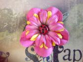 Pink and Yellow Flower Hair Clip with Ladybug