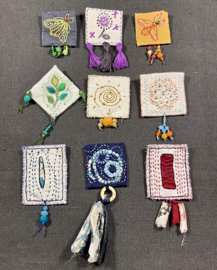 Textile handmade boho brooch