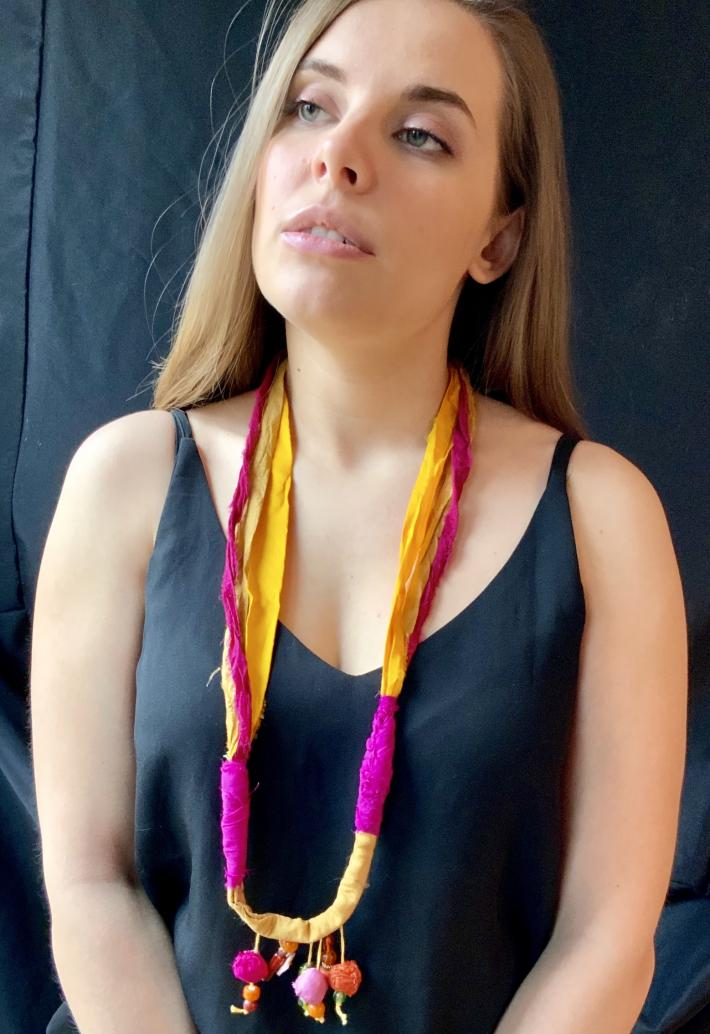 Exotic boho necklaces with fabric beads
