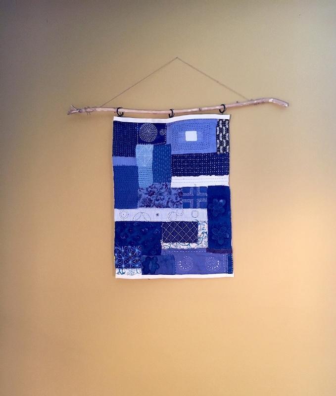Sashiko inspired wall hanging quilt