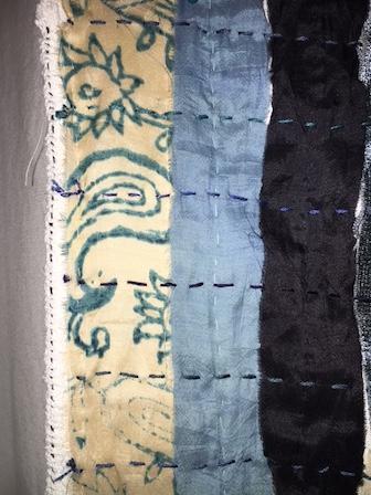 Blue Sari silk and sashiko style stitching