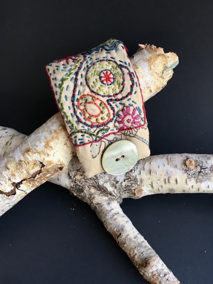 Colorful Textile Cuff with embroidery and flowers pattern