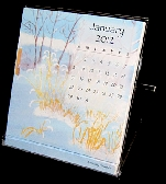 ON SALE 2012 Desk Calendar in CD Case with floral or nature watercolor art