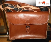 student hand stitched handmade brown large satchel leather shoulder bag by brand G2P