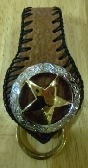 cowboy made to order brown leather key ring fob for belt sheriff design by G2P