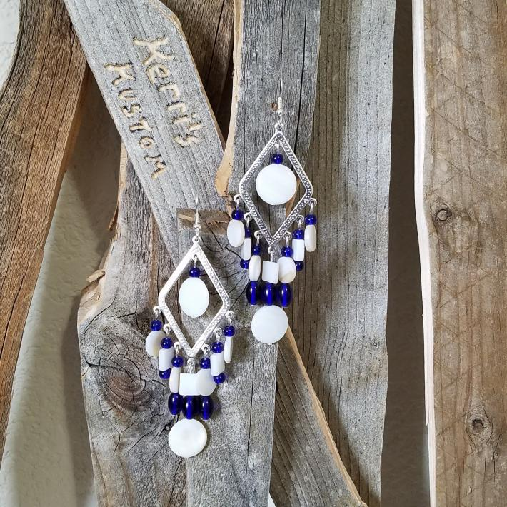 Blue and White Chandelier Style Earrings