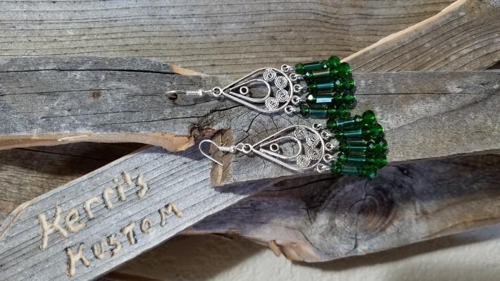 Emerald Green Chandelier Style Earrings