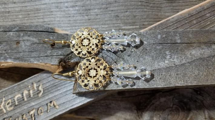 Gold and Clear Swarovski Chandelier Style Earrings