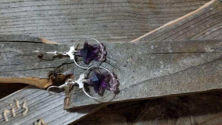 Purple Crystal Starfish Hoop Earrings
