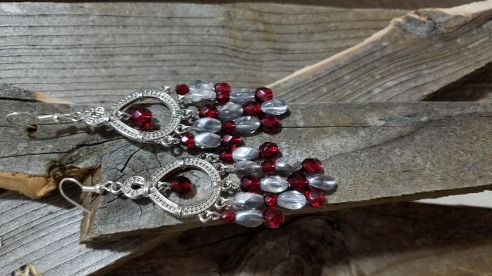 Wine Red and Silver Chandelier Style Earrings