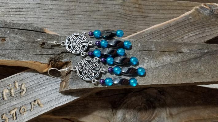 Celtic Style Silver Black Purple and Blue Chandelier Earrings