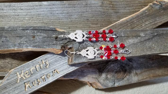 Red and Clear Swarovski Crystal Chandelier Style Earrings